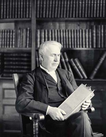 Thomas Edison with his NiFe Cell
